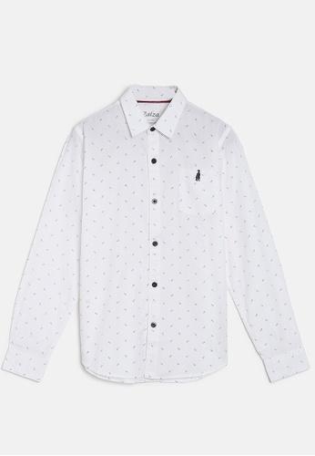ZALZA white Rock Rose 100% Organic Cotton Woven Boys Long Sleeve Shirt - White 120ABKAEF65580GS_1