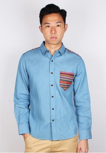 Moley blue Aztec Embroidered Yoke Long Sleeve Shirt A0A7EAAF3B43CCGS_1