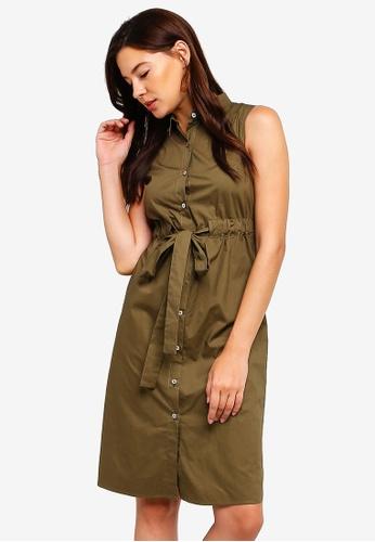 ZALORA green Sleeveless Midi Shirt Dress EFCA4AA72BEBA2GS_1