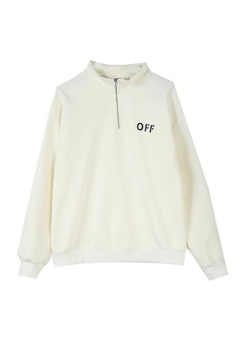 Its Me white Simple Zipper Half High Collar Plus Fleece Sweater 1680EAAB386276GS_1