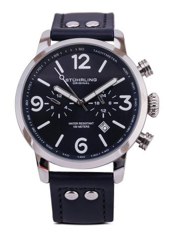 Stuhrling Original 藍色 and 銀色 3956 Quartz 45mm Aviator Watch 6E824AC659F720GS_1