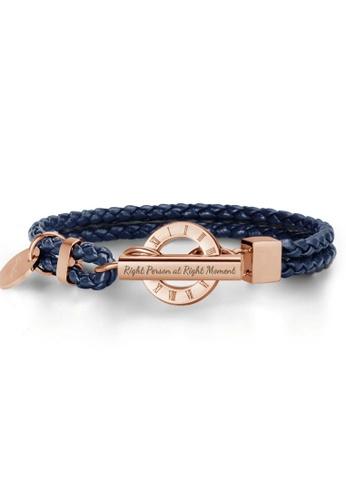 Crudo Leather Craft blue La Memoria Double Woven Leather Bracelet - Navy Blue (Rose Gold Edition) 25774ACEB11259GS_1
