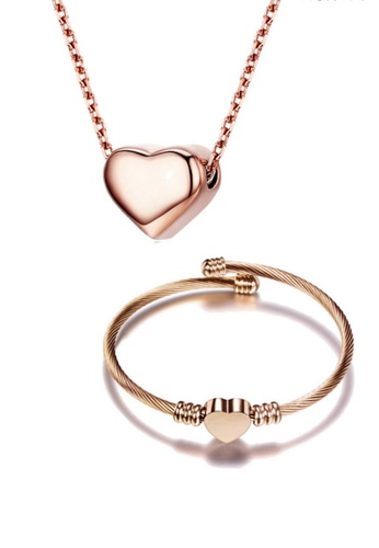 CELOVIS gold CELOVIS - Amora Necklace Paired with Hathaway Bangle Jewellery Set in Rose Gold 1C1C5ACC3C20C7GS_1