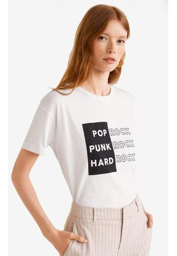 Mango white Printed Message T-Shirt 7B171AA23ECA15GS_1