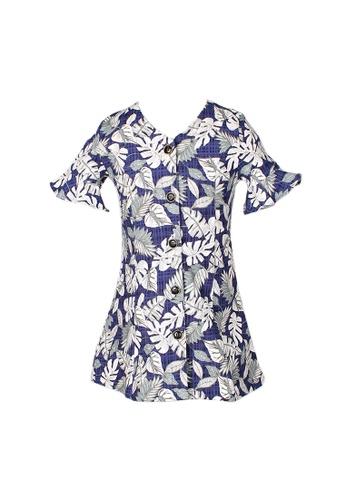 Mini Moley navy Floral Print Girl's Button Down Dress 52262KAD384753GS_1