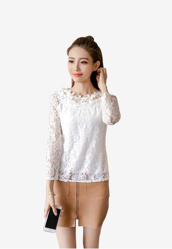 8ab653b03410ff hk-ehunter white Women Lacey Crop Blouse C9F58AA8EF638BGS_1