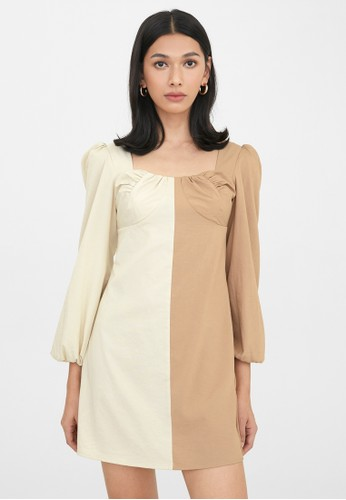 Pomelo multi Two Tone Puffed Sleeves Dress - Beige 2A44BAA00484C0GS_1