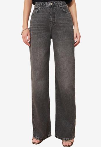Trendyol black High Waist Wide Leg Jeans C83D5AA12232B9GS_1
