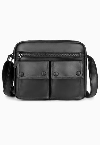 Lara black Plain Zipper Pockets Cross Body Bag - Black 8690CACAFB2EF3GS_1