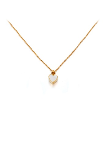 Glamorousky silver Fashion and Simple Plated Gold Heart-shaped 316L Stainless Steel Pendant with Necklace 6C07FAC9695903GS_1