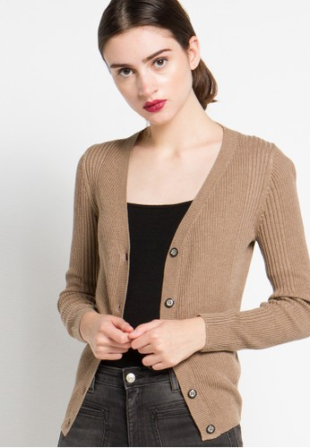 Noir Sur Blanc brown Ladies Cardigan Long Sleeve With Button NO321AA13XZMID_1