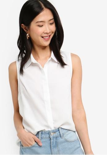 ZALORA BASICS white Basic Sleeveless Shirt 816C3AAD959235GS_1