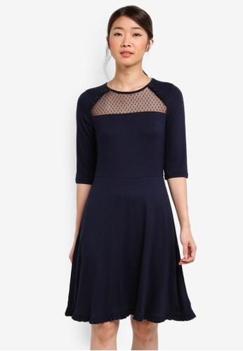 Dorothy Perkins navy Navy Mesh Insert Dress 4B0B8AA7847740GS_1