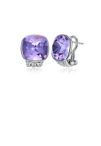 Glamorousky purple 925 Sterling Silver Fashion Elegant Geometric Square Purple Austrian Element Crystal Earrings 8C950AC9FFC393GS_1