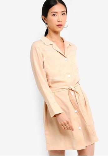 ZALORA BASICS beige Basic Dress With Contrast Topstitching 909F2AAB5AC6F3GS_1