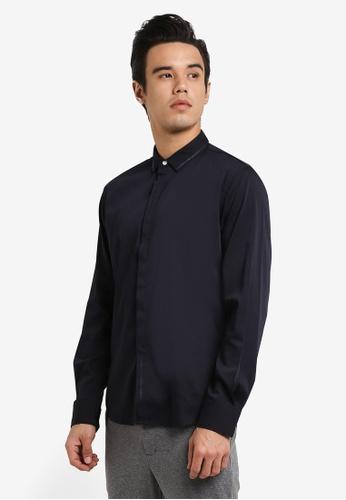 ZALORA navy Stroke Print Long Sleeve Shirt 64EB3AA89386A7GS_1