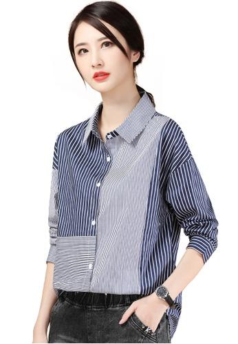 A-IN GIRLS navy Fashion Color Block Striped Shirt B167EAA643E7ACGS_1