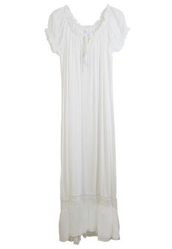 ZITIQUE white Short Sleeve Loose Cotton Sleepwear-White 1E4A0USC76CE80GS_1