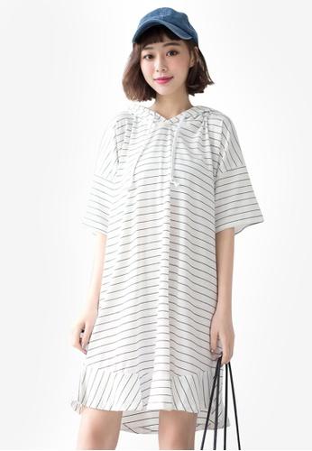 Tokichoi white Striped Hooded Dress 7B871AA44E532CGS_1