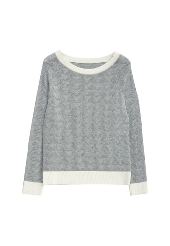 KLAPS grey Openwork Sweater 5E5AFAAB83A1C6GS_1
