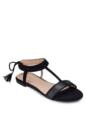 繞踝繫帶平底涼鞋, 女鞋, 涼zalora 包包 ptt鞋