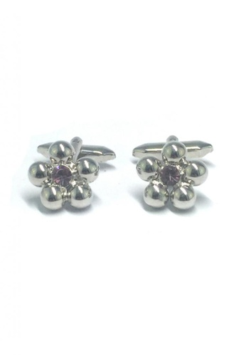 Splice Cufflinks silver Purple Crystal Silver Flower Cufflinks   SP744AC61DTISG_1