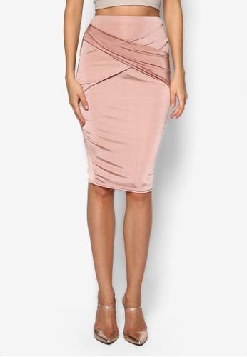 前裹飾及膝鉛筆裙, 服飾zalora退貨, 及膝裙