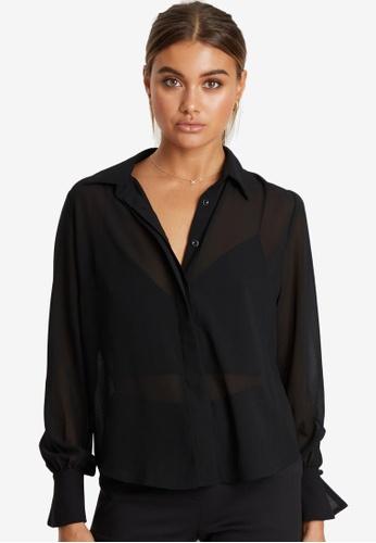 REUX black Pierce Pleat Sleeve Shirt FB61EAA88A97E4GS_1