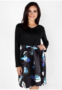 Elegant Long Sleeve Floral Midi Dress
