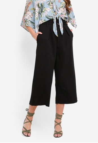River Island black Ring Tie Belted Culottes 7FF05AA5BDD03EGS_1