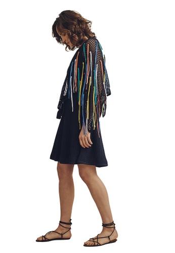 22 Factor black Inez Rainbow Knit Shawl 225E8AA3960870GS_1