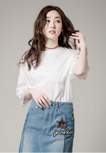 H:CONNECT white Cotton Lace BOHO T-Shirt B1086AAABE9B13GS_1
