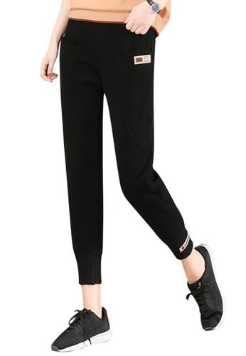 A-IN GIRLS black Elastic Waist Warm Casual Pants (Plus Cashmere) 7DA95AA3E24355GS_1