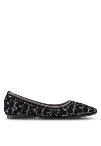 Louis Cuppers black Embroidered Ballerinas LO977SH40XRBMY_1