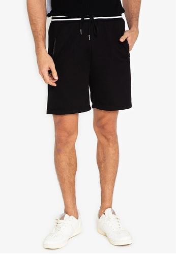 ZALORA BASICS black Contrast Rib Waistband Shorts 945E1AA209EF02GS_1