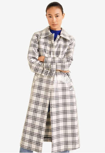 Mango white Checkered Coated Trench 10FD5AAACEED5DGS_1