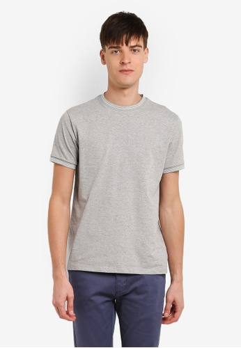 Topman grey Grey Muscle Fit Tipped Ringer T-Shirt TO413AA0RZZVMY_1