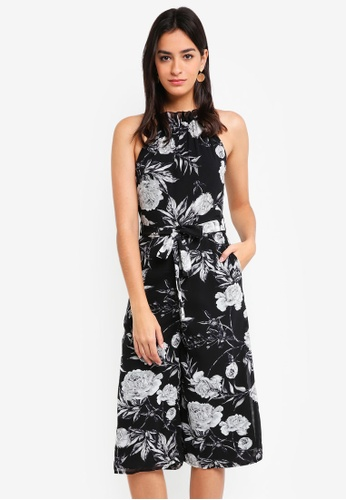 MDSCollections black Elsie Cutout Jumpsuit In Black Floral AF31BAA01B543CGS_1