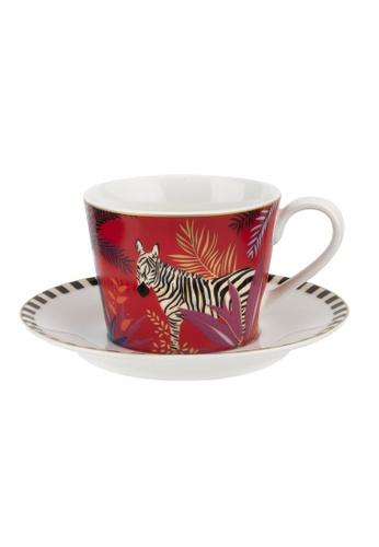Sara Miller red Sara Miller London - Zebra Teacup & Saucer (SMTZ78924-XG) 4B4E8HLC2D64DFGS_1