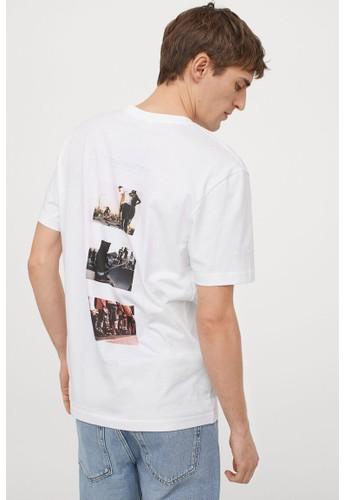 H&M white Printed T-shirt F56FBAA4DE723BGS_1