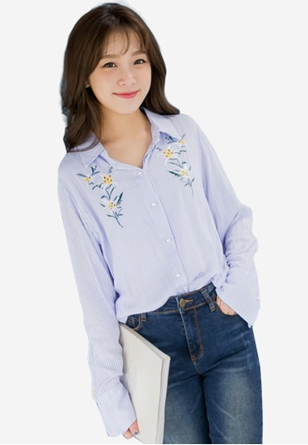 Sesura blue Delightfully Floral Embroidered Top 29A29AA000FFECGS_1