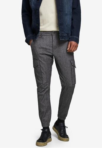 Jack & Jones grey Paul Flake Cargo Trousers B1A4AAA3E4BD74GS_1