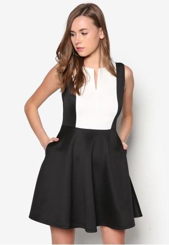 拼色傘擺連身裙zalora鞋, 服飾, 洋裝