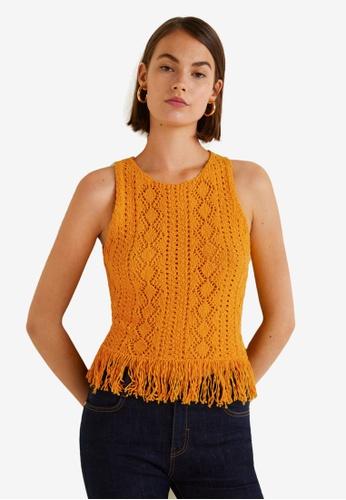 Mango yellow Fringe Crochet Top BCB1AAA35443A2GS_1
