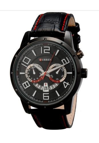 curren black Curren 8140 Men's Japan Quartz Leather Wristwatch (Full Black) CU537AC14RQRMY_1