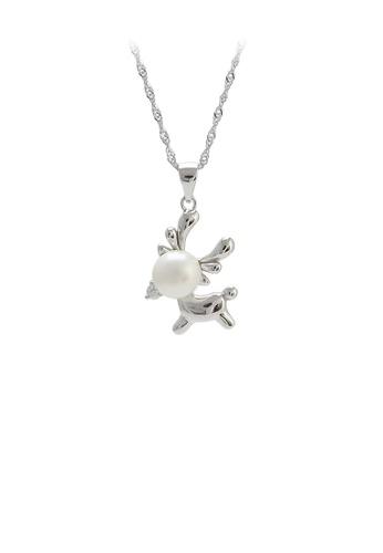 Glamorousky 白色 925純銀簡約可愛麋鹿白色淡水珍珠吊墜配項鏈 EC84EAC0BDBE3BGS_1