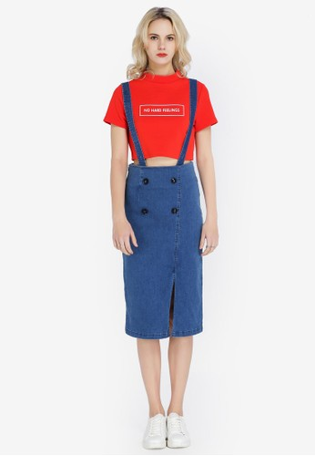 Hopeshow blue Suspender Skirt with Front Slit B6601AAA691D04GS_1