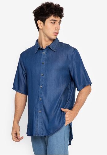 Origin by Zalora blue Boxy Fit Shirt made from Tencel 9EFCEAA534C297GS_1