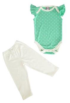 Apple Green Flutter Sleeve Onesie With White Mini Polka Dots and Cream Leggings Set