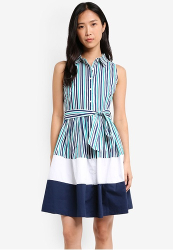 ZALORA blue Colour Block Shirtdress C5798AAFCFC4ADGS_1